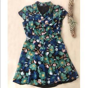 Zara Tropical Floral Print Mini Shirtdress sz S